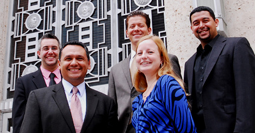 Political Science Alumni Cameron Waldner, Edward Gonzalez, Jesse Bounds, Katy Price and Mark Cueva