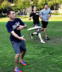 Students playing Ultimate Frisbee in the Campus Life Mall