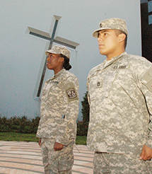 ROTC cadets Dymond Mosley and Alan Llanas