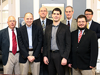 Pictured L to R: Dr. R. Edward Houser, Dr. Steve Jensen, Dr. John Hittinger, Jordan Olver, Dr. David Gallagher, Dr. Charles Sommer, and Dr. Thomas Osborne.