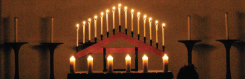Photo of a lit candelabra used in the Tenebrae service