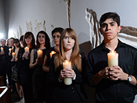 Honors Program students with candles