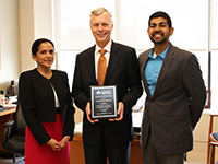 Pictured L to R: Dr. Beena George, Tom Standish, Zain Hussain