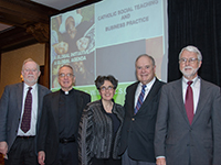 Dr. Michael Naughton, Fr. Oliver Williams, CSC, Dr. Mary Gentile, Dr. Kenneth Goodpaster and Dr. George Brenkert