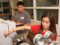 Mitchell Nguyen and Jennifer Hoang doing biomass research