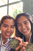 Gina Duong and Jennifer Le with HOSA medals
