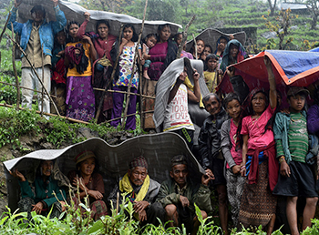 Nepalese in Rain after earthquake