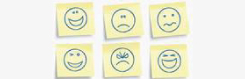 Post It notes with drawings of faces with different emotions