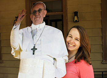 Emily McCauslin with Pope Cutout
