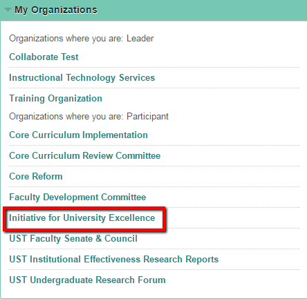 My Organizations module, with IUE link highlighted