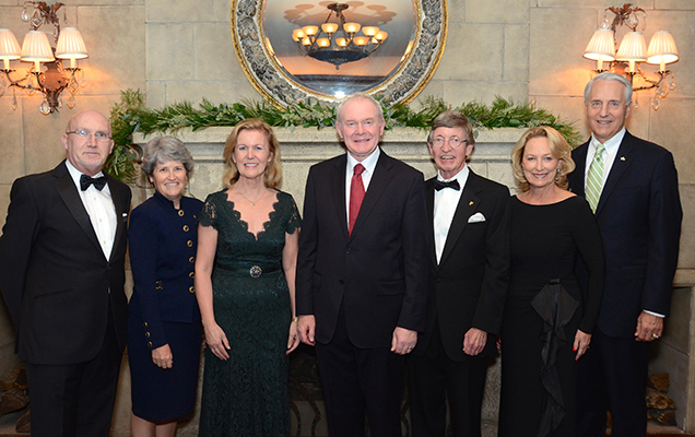 From left to right: Rev. Bill Shaw, Lori M. Gallagher, Ambassador Anne Anderson, deputy First Minister Martin McGuinness, Hon. John B. Kane, Marianne and Dr. Robert Ivany.