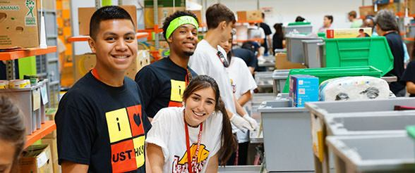 University of St. Thomas students volunteering at the Houston Food Bank