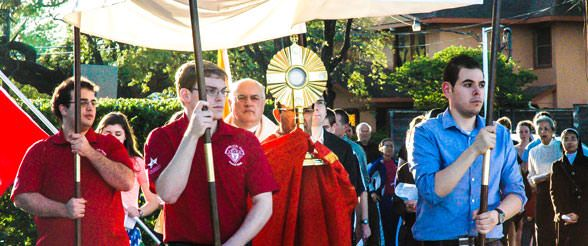 Catholic procession with blessed sacrament at the University of St. Thomas in Houston, Texas