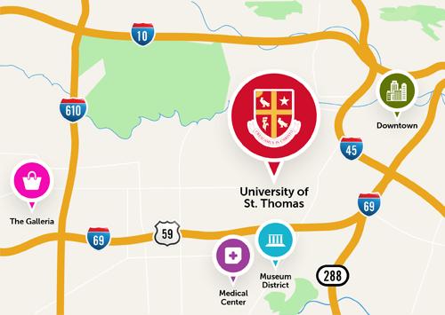 university of st thomas houston map