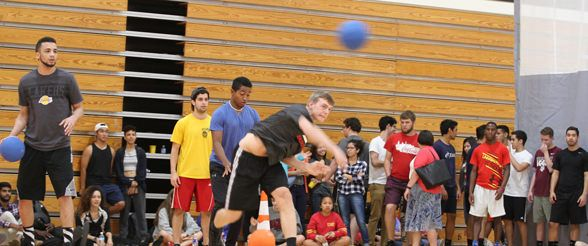 Dodgeball at Jerabeck Activity and Athletic Center on the University of St. Thomas campus in Houston, Texas