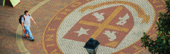 Student walking by the University of St. Thomas seal on campus