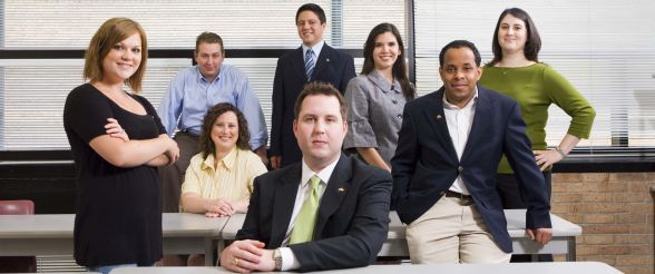 Group of business professionals at University of St. Thomas in Houston, Texas