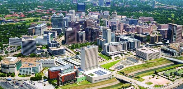 Aerial view of the Texas Medical Center district in Houston