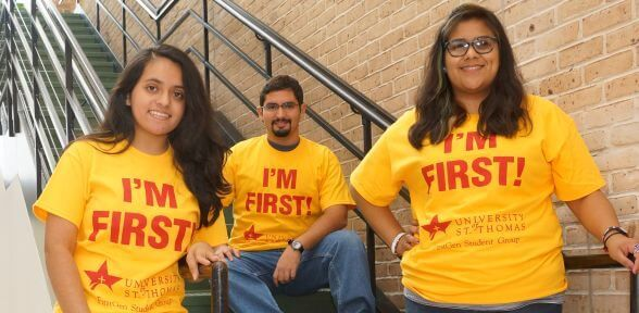 Three first generation students at the University of St. Thomas in Houston, Texas