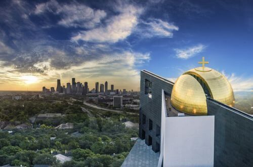 Artist rendering of Chapel of St. Basil gold dome looking out to downtown Houston, Texas