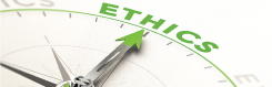 Image of a compass pointing toward the word ethics