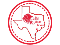 Graphic with Celts Day of Service title inside an outline of the state of Texas