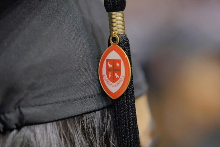 Tassel hanging from University of St. Thomas graduation cap