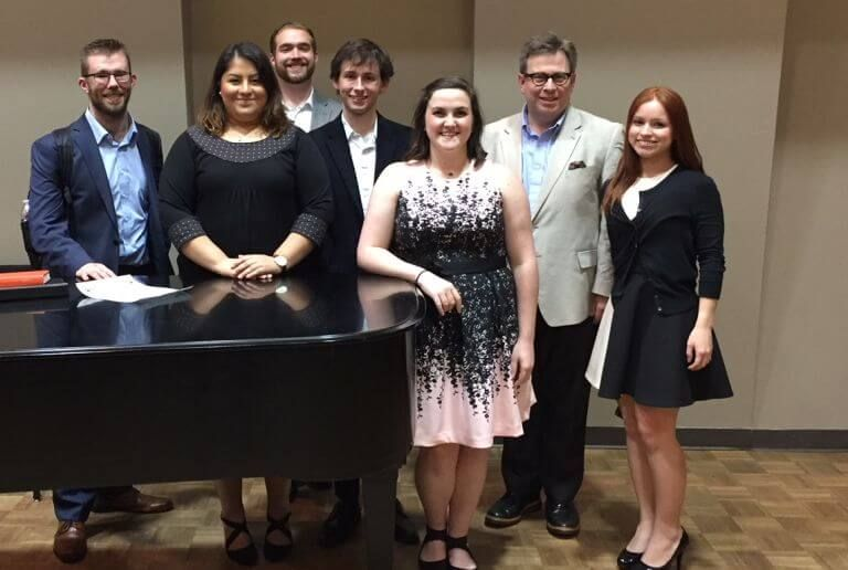 L-R: Max Mullenax, Noemy Cervantes, Chase Duffin, Jesse Peterson, Laura Strickland, Dr. Brady Knapp and Diana Struve