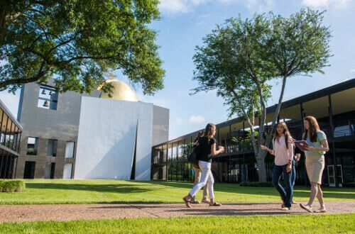 University of St. Thomas - Houston students walk in front of Chapel of St. Basil