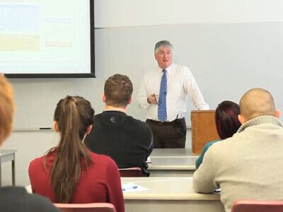 Dr. Jon Taylor teaches a Political Science class at the University of St. Thomas - Houston