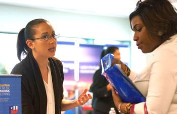 University of St. Thomas - Houston MBA Master of Business Administration student talks to recruiter