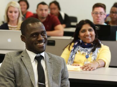 University of St. Thomas - Houston MBA in Free Enterprise & Entrepreneurship students in classroom