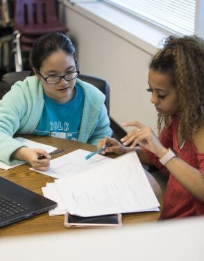 Student receiving tutoring at University of St. Thomas in Houston, Texas