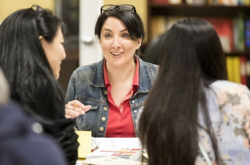 Adviser advising students at the University of St. Thomas in Houston, Texas