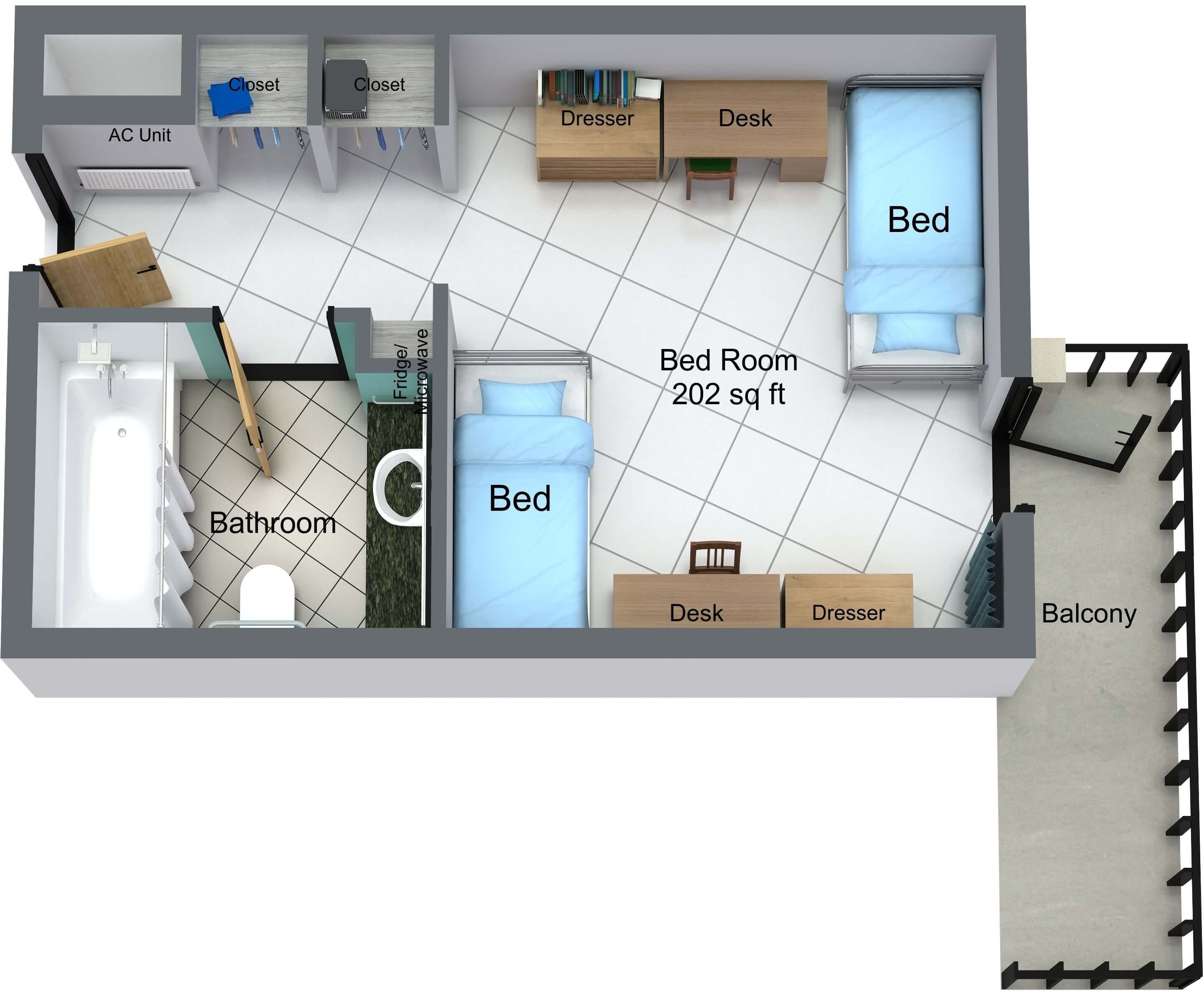 Guinan Hall 2-person floor plan