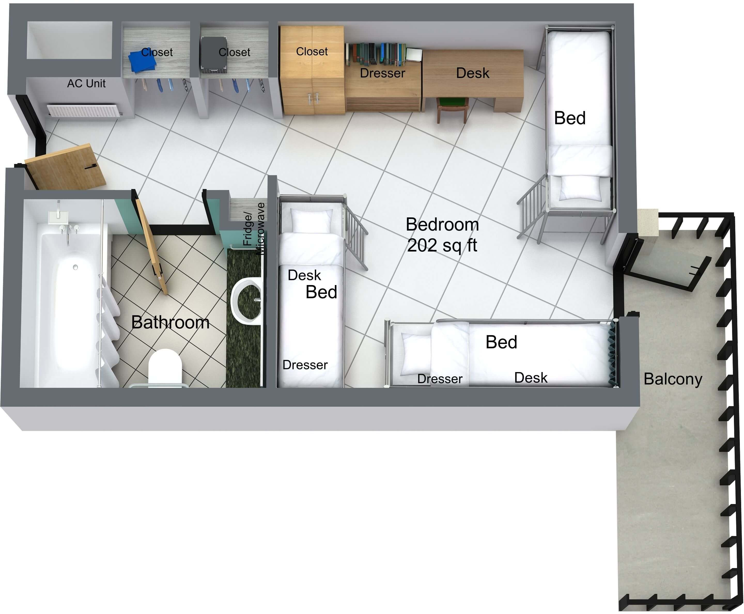 Guinan Hall 3-person floor plan