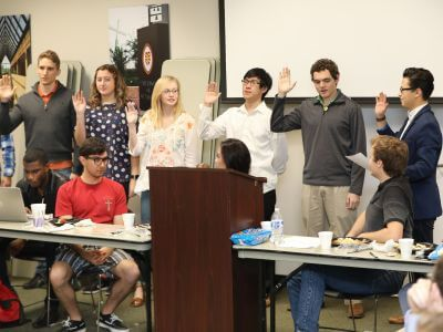 Student Government Association swearing-in at University of St. Thomas in Houston, Texas