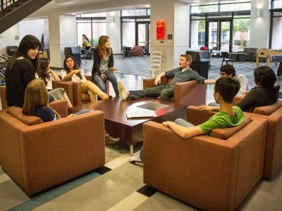 Living learning community in Guinan Hall dorm at University of St. Thomas in Houston, Texas