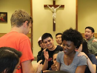 Students having fun during University of St. Thomas Houston Campus Ministry retreat