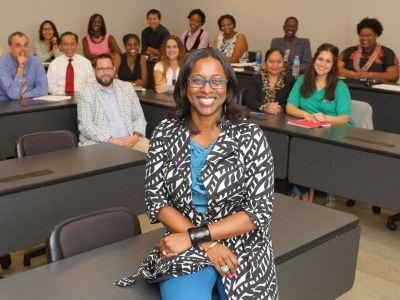 Graduate students in classroom at University of St. Thomas in Houston, Texas