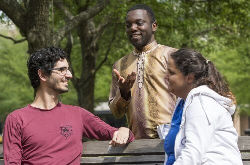 International students on campus at University of St. Thomas in Houston, Texas