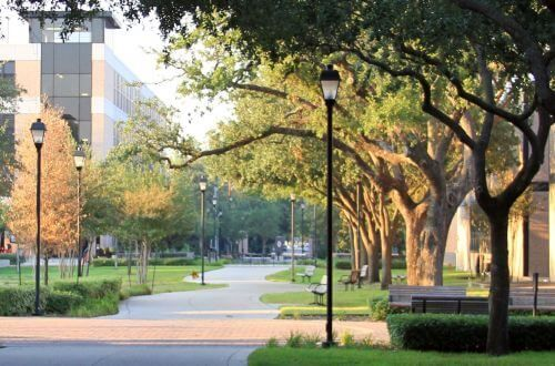 Walking path at University of St. Thomas in Houston, Texas