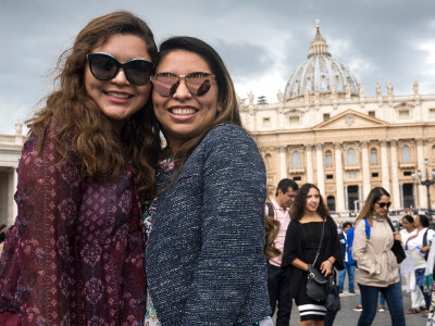 Two University of St. Thomas - Houston students studying abroad in Rome, Italy