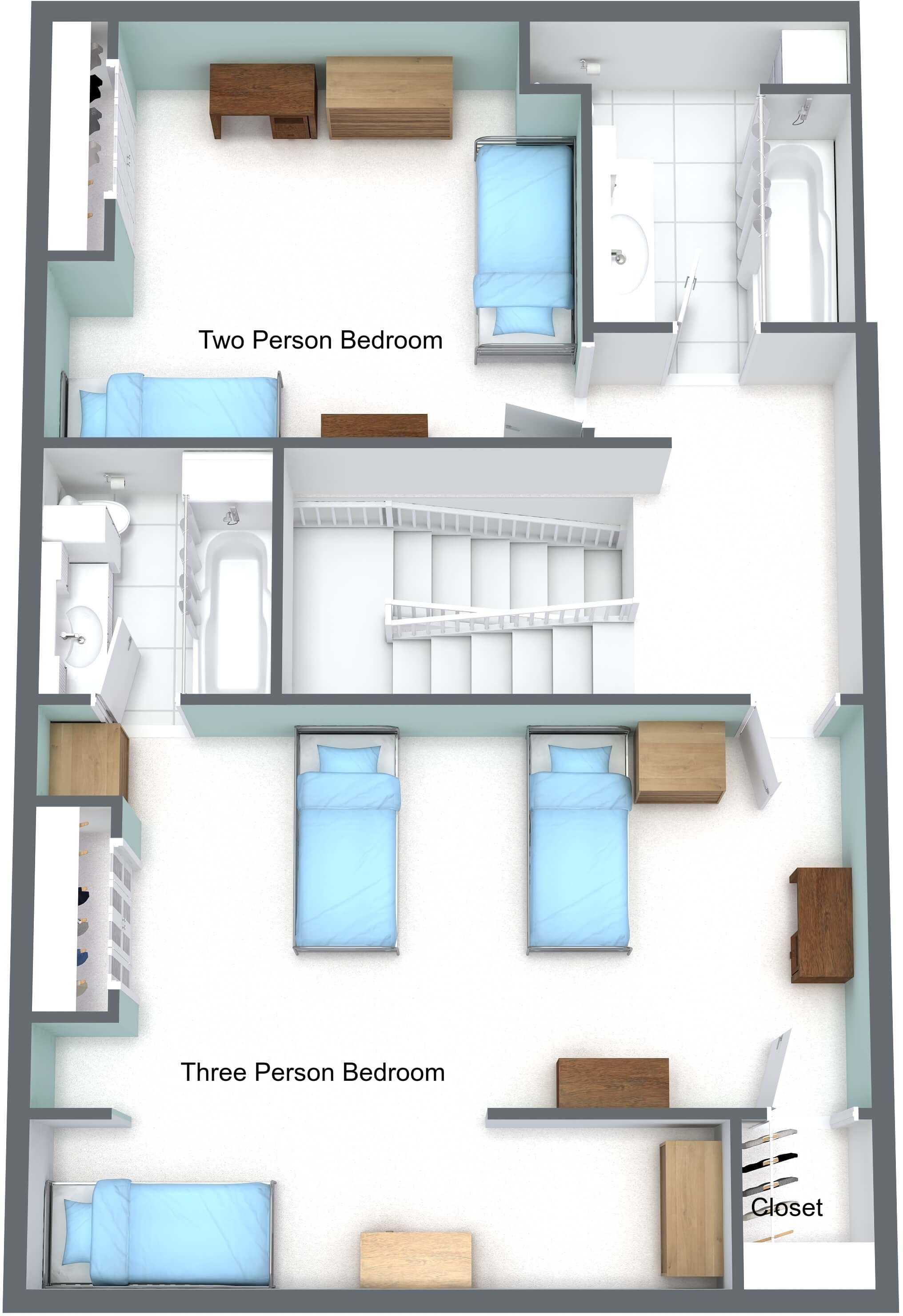 Sample upper floor level rendering of townhomes on campus of University of St. Thomas in Houston, Texas