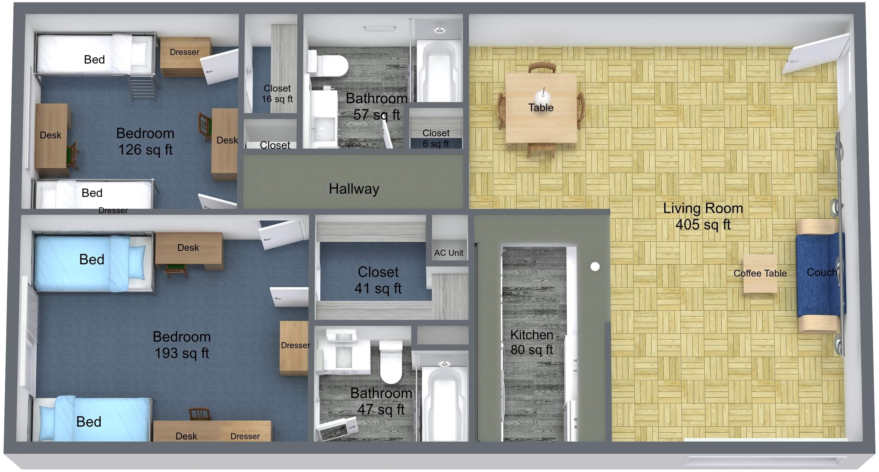 2 BR floor plan rendering for Young Hall dorm on campus of University of St. Thomas in Houston, Texas