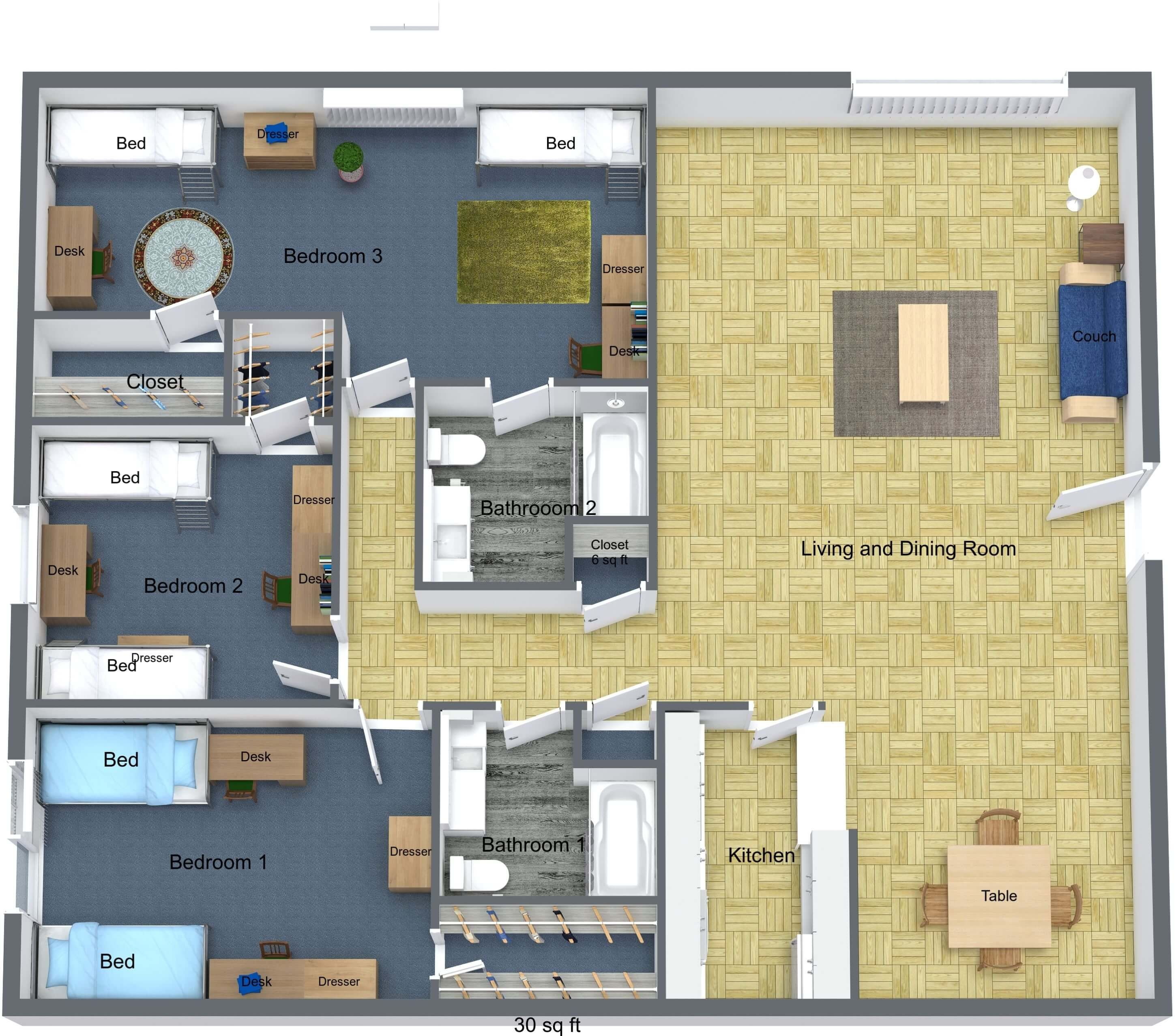 3 BR floor plan rendering for Young Hall dorm on campus of University of St. Thomas in Houston, Texas