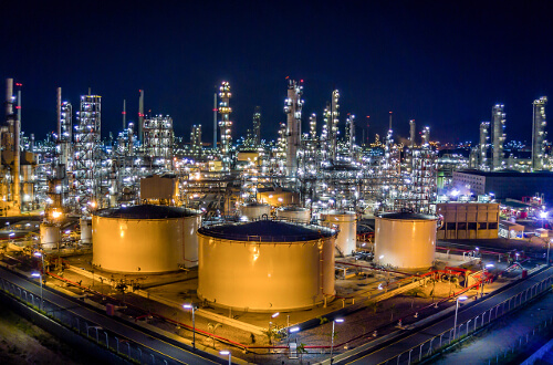 University of St. Thomas - Houston Master of Science in Industrial and Process Chemistry - chemical refinery at night