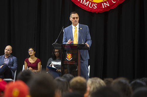 University of St. Thomas - Houston President Dr. Richard Ludwick speaking at podium