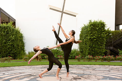 University of St. Thomas - Houston dance majors practice leaps in the labyrinth