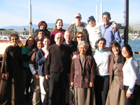 Photo: Sr. Paula Jean Miller, FSE on board the Jesus boat on the sea of Galilee
